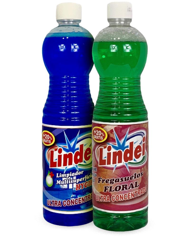 Gama de fregasuelos Lindei FLORAL súper-concentrado y Lindei HYGIENIC con alto poder limpiador, higienizante y desodorizante.